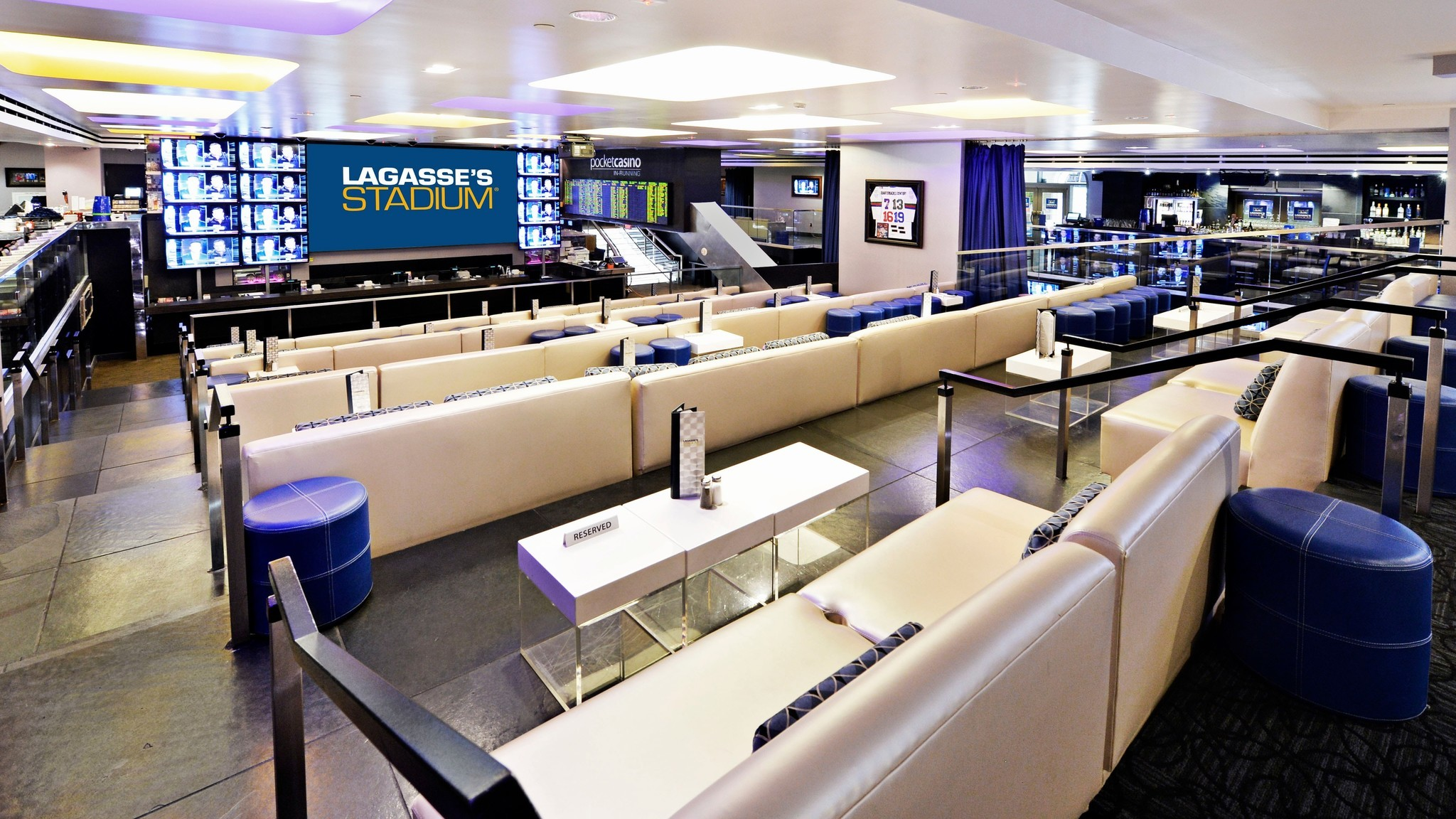 With 100 screens, including one measuring 9 by 16 feet, Legasse's Stadium at the Venetian features food by celebrity chef Emeril Lagasse.