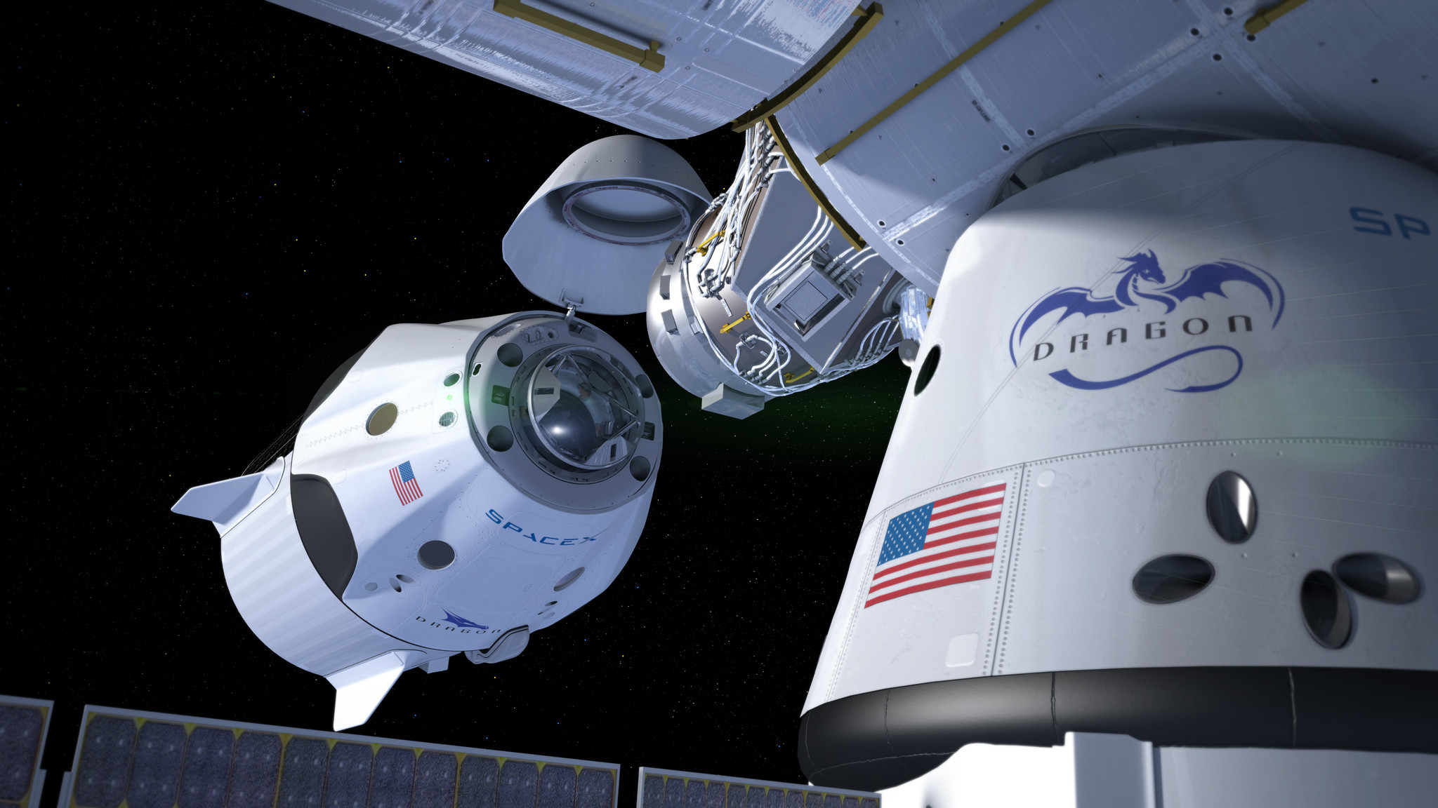 In this rendering, SpaceX's Dragon 2 capsule docks autonomously with the International Space Station.