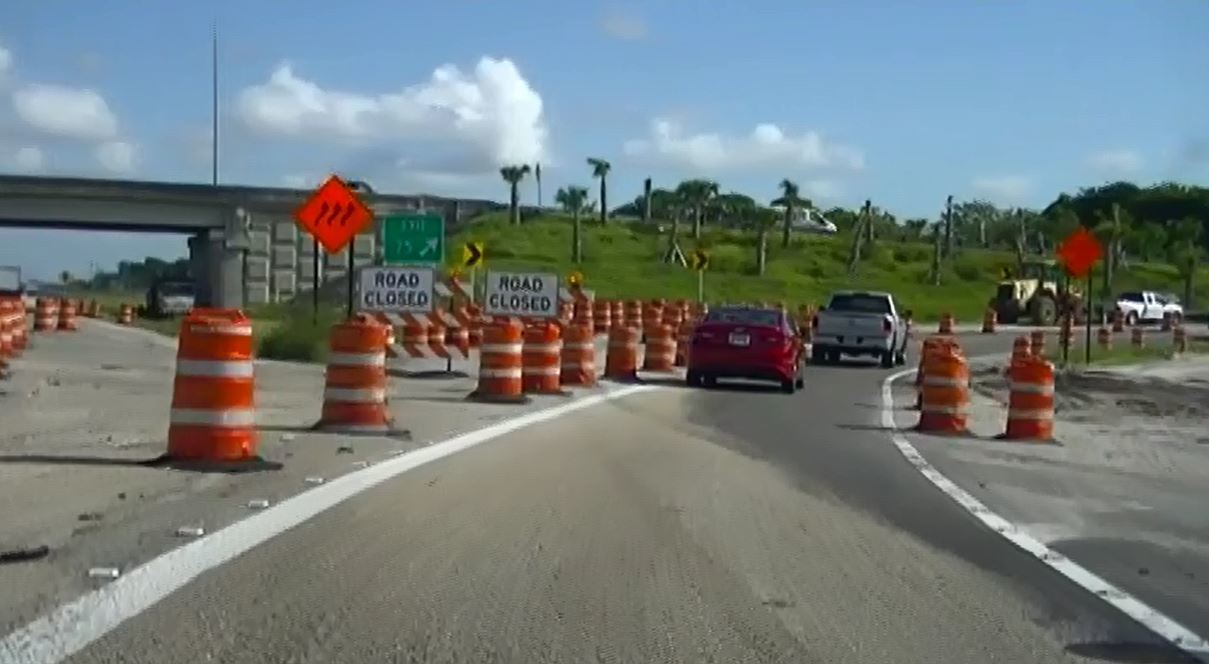 Hurricane Irma Road Construction Barriers Being Cleared
