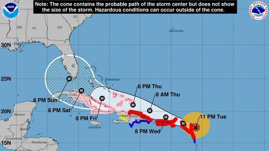 Hurricane Irma slams into Barbuda; landfall in U.S. depends on ...