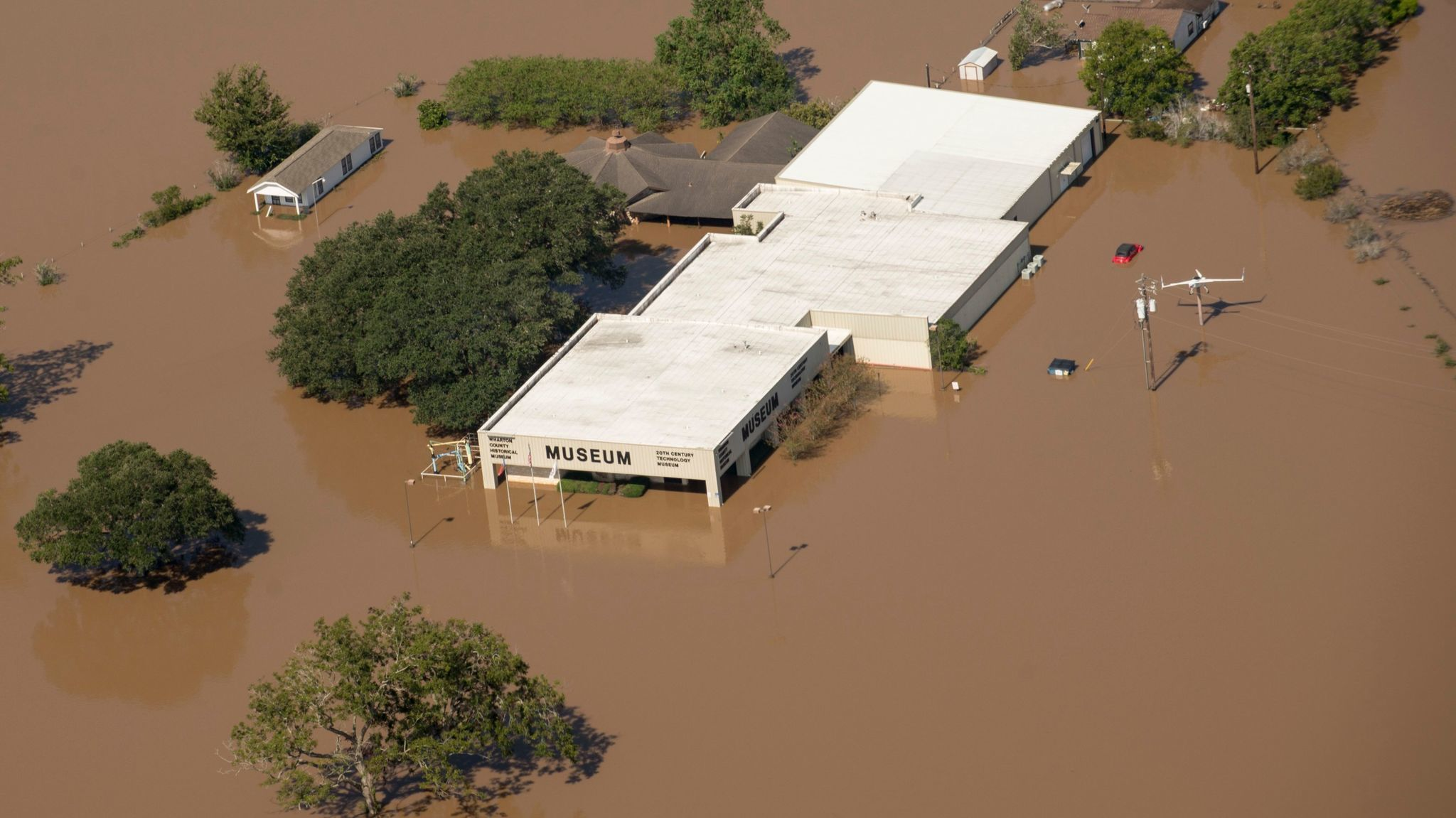 Inundated by floodwater by tropical storm Harvey, the Wharton County Historical Museum and 20th Century Technology Museum as seen from an aerial photo made available by the US Air Force.