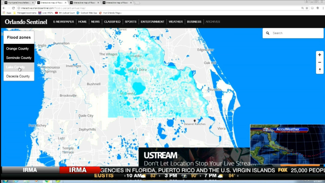 Florida Flood Map.Interactive Flood Zone Map Of Central Florida Orlando News Now