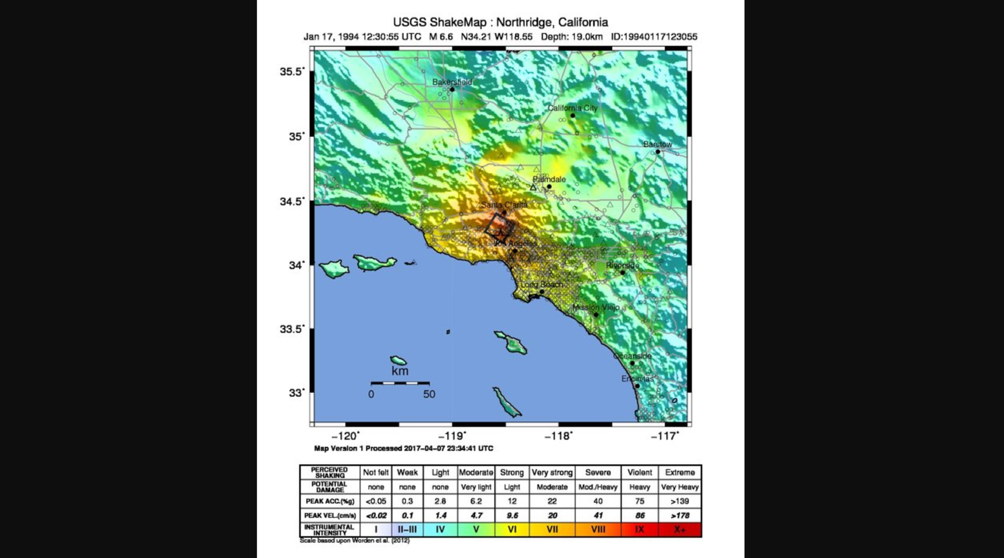 The magnitude 6.7 Northridge earthquake in 1994 produced intensity level 9 shaking — violent shaking — in a small section of the San Fernando Valley.