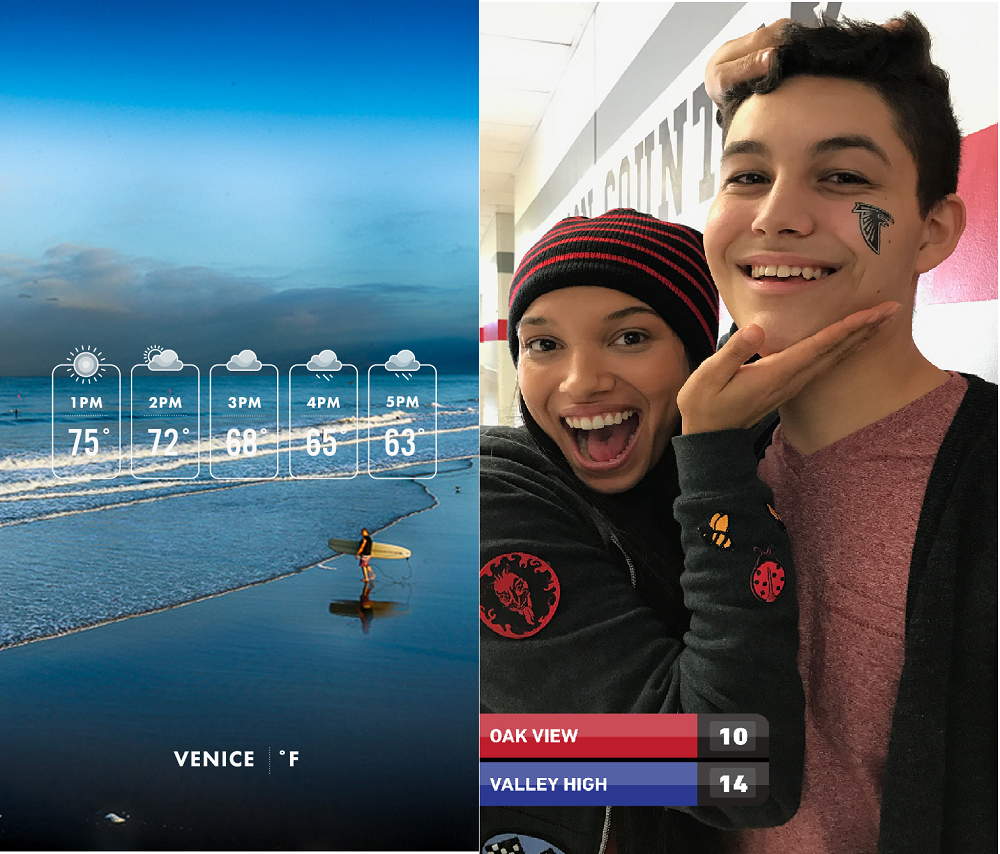 Examples from Weather Co. and ScoreStream show dynamic geofilters, or small informational banners overlaid on images.