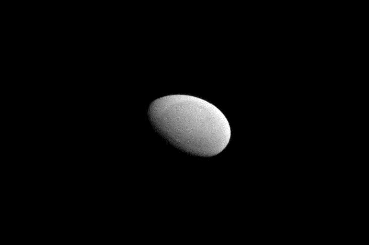 Cassini's view of Methone from about 2,500 miles away.