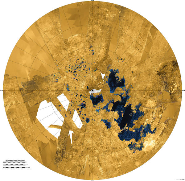 This colorized mosaic image using radar data gathered by Cassini shows Titan's northern land of lakes.