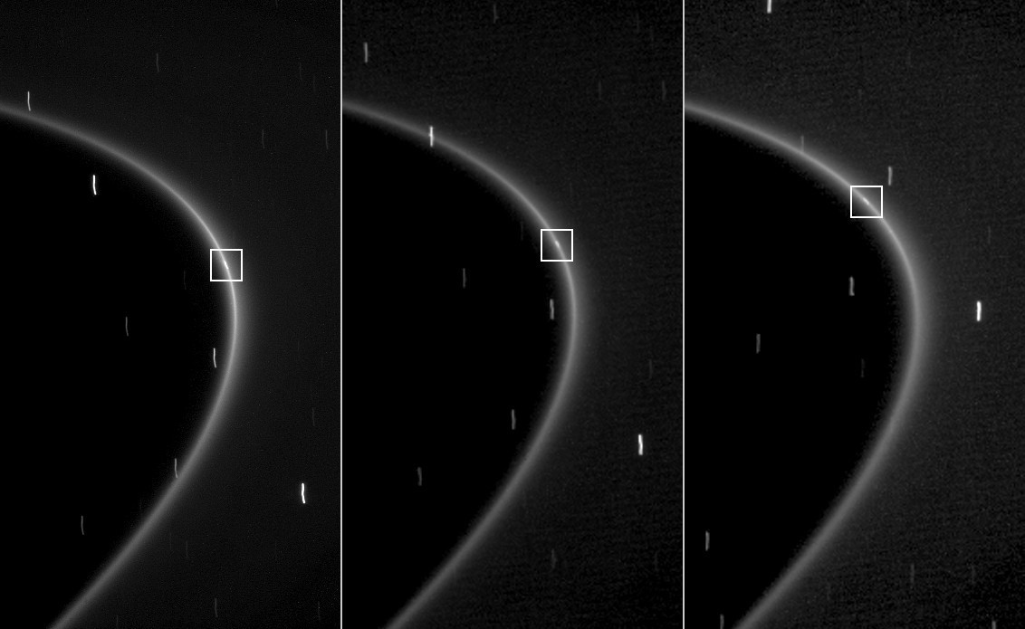 The moon Aegaeon appears as a small streak of light within Saturn's G ring.