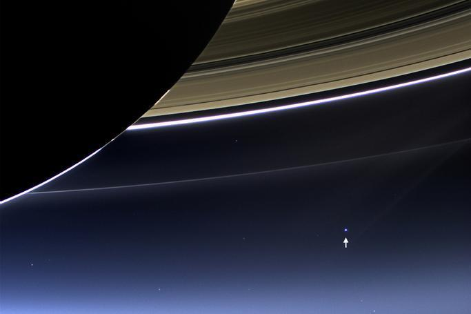 Cassini's photo of Earth, taken from 898 million miles away.