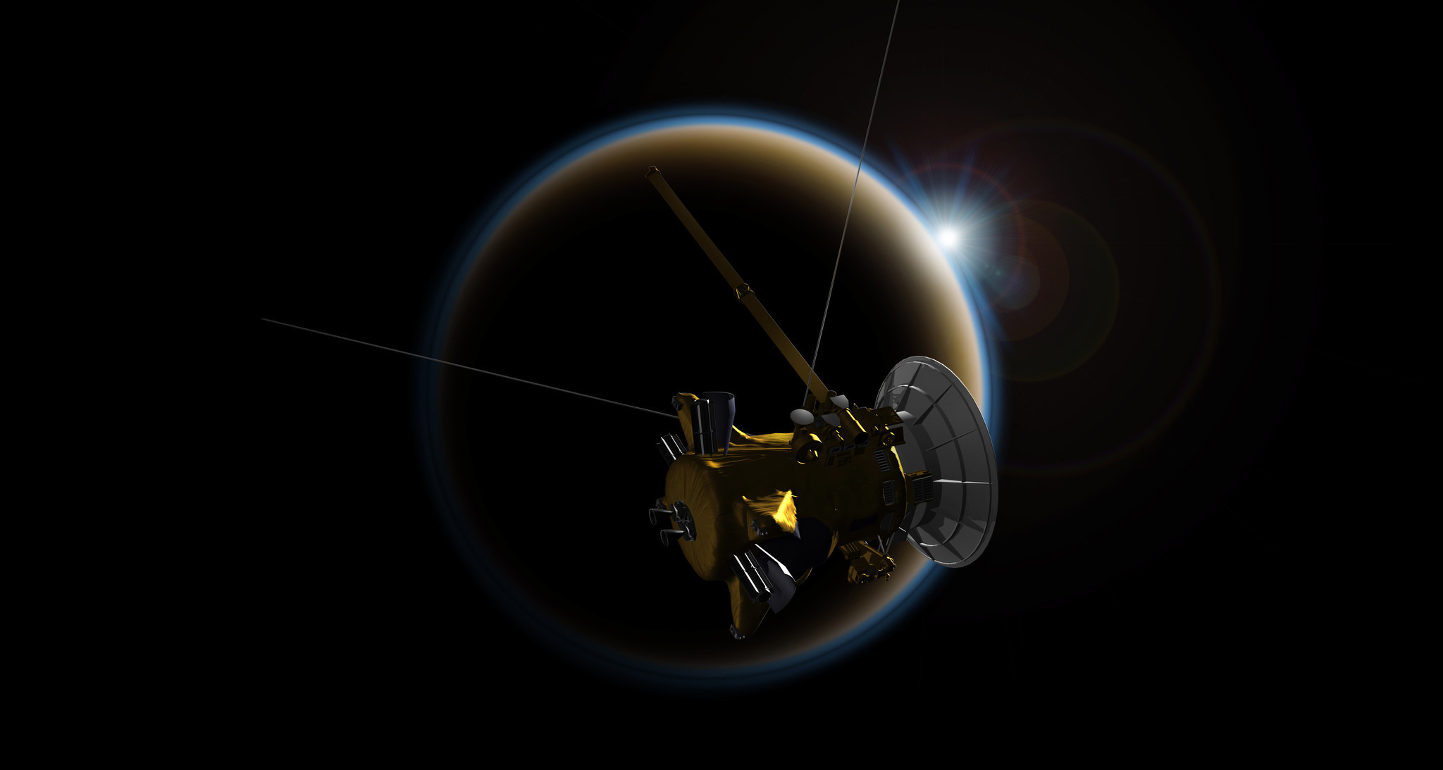 Cassini's final Titan flyby, which puts the spacecraft on a crash course for Saturn.