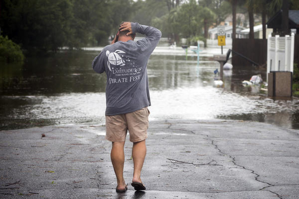 Flooding on Tybee Island, Ga., from Tropical Storm Irma. (Stephen B. Morton / Associated Press)