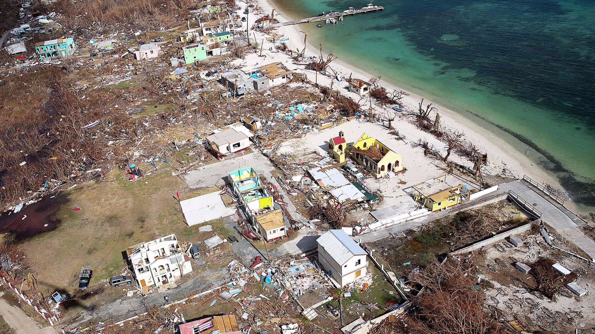 The devastation of the island of Jost Van Dyke in the British Virgin Islands on Sept. 11 after Hurricane Irma.
