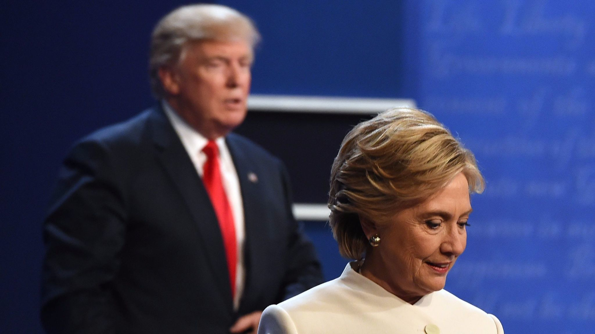 Donald Trump and Hillary Clinton during the second presidential debate, Oct. 19, 2016