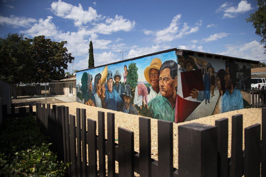 """Emigdio Vasquez's  """"El Proletariado de Aztlán"""" (The Proletariat of Aztlán), fully restored. It's part of a mural restoration project by Chapman University."""