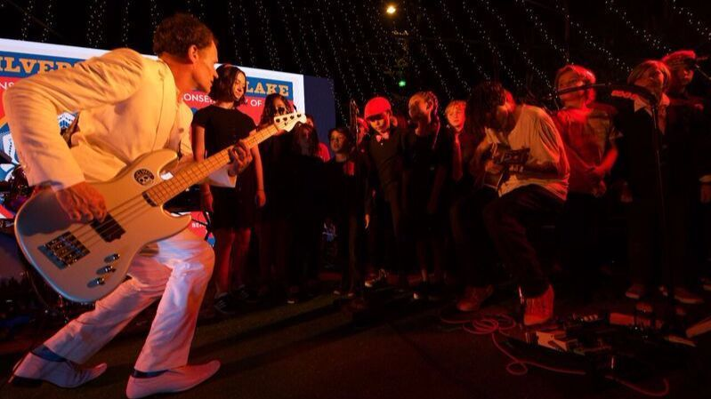 "Flea, who appears in the summer film ""Baby Driver,"" performs at the Silverlake Conservatory of Music gala on Sept. 9."