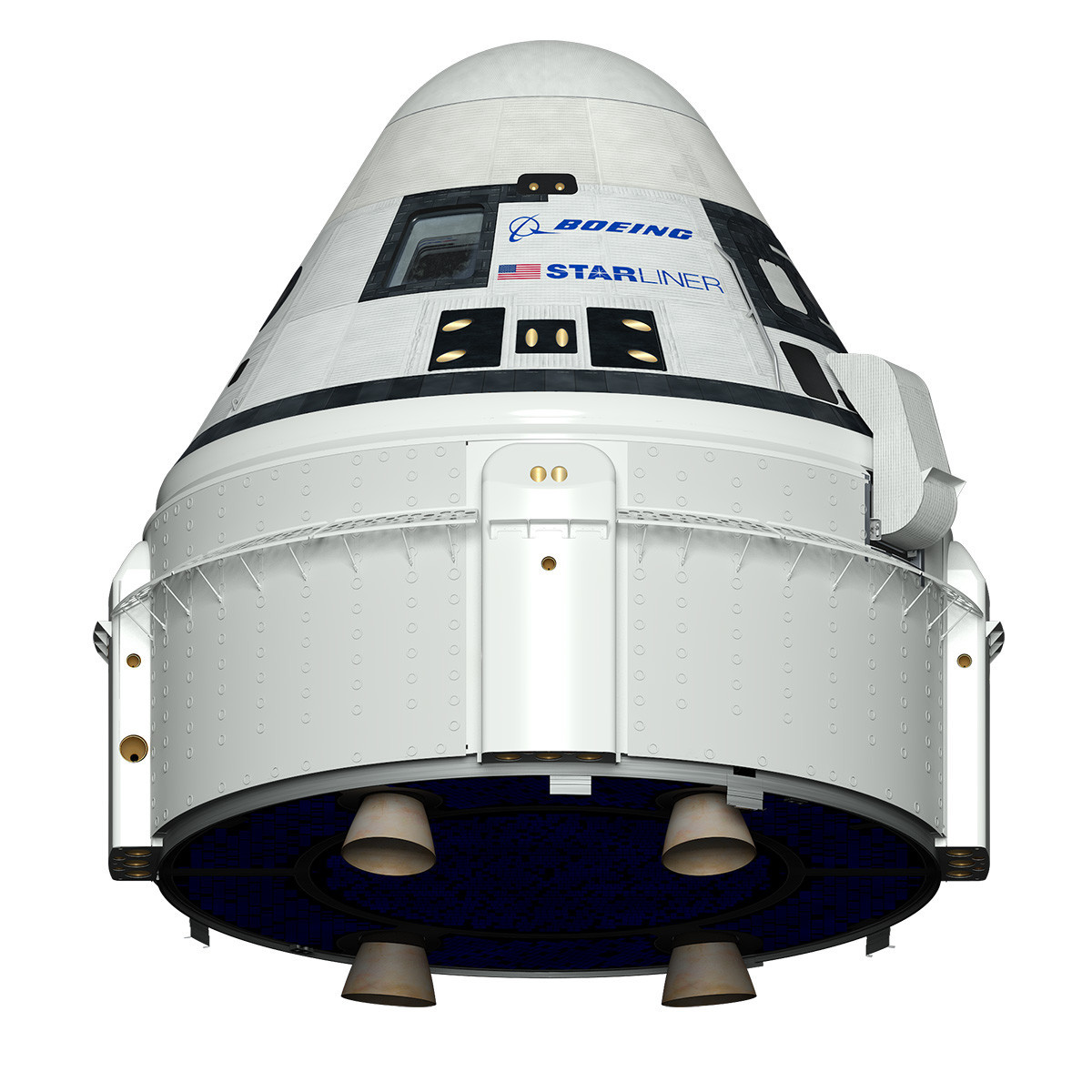 A rendering of Boeing's CST-100 Starliner capsule.