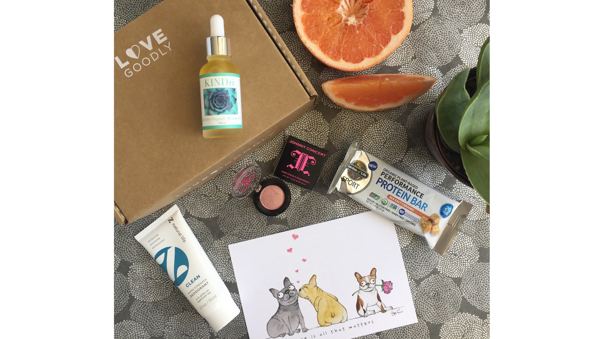 Subscription box Love Goodly features natural/organic beauty and wellness products with its every-other-month delivery. The beauty box is $29.95, lovegoodly.com.