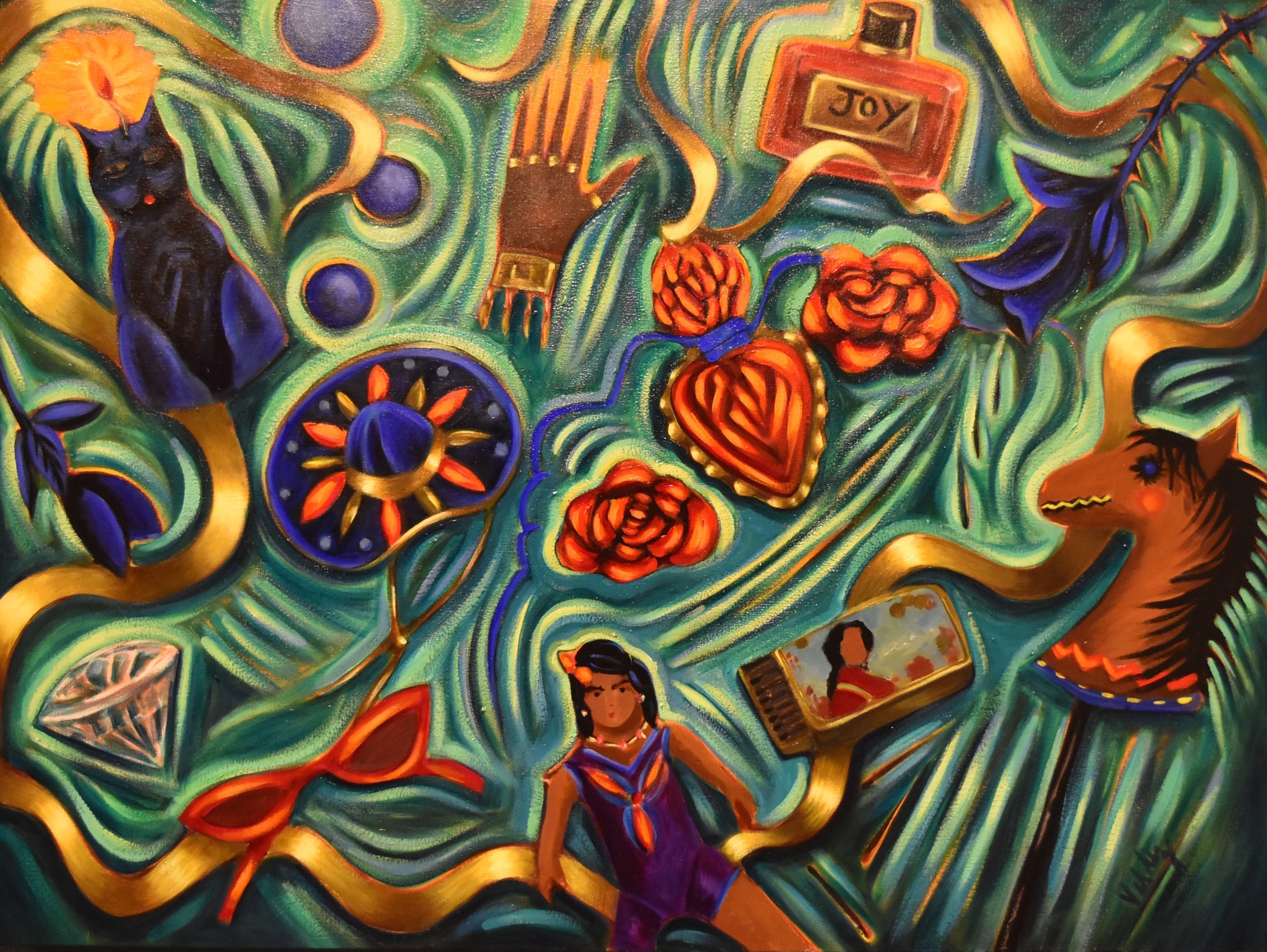 """Farewell,"" 2006, by Patssi Valdez, at the Millard Sheets Art Center"