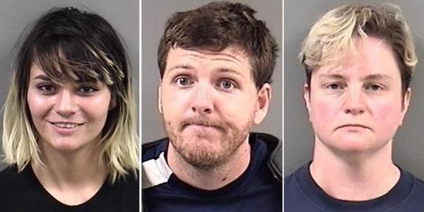 Among those arrested at the Berkeley demonstration were, from left, Hannah Benjamin, 20, of Fremont; Michael Paul Sullivan, 29, of Hayward; and Sarah Roark, 44, of San Francisco.