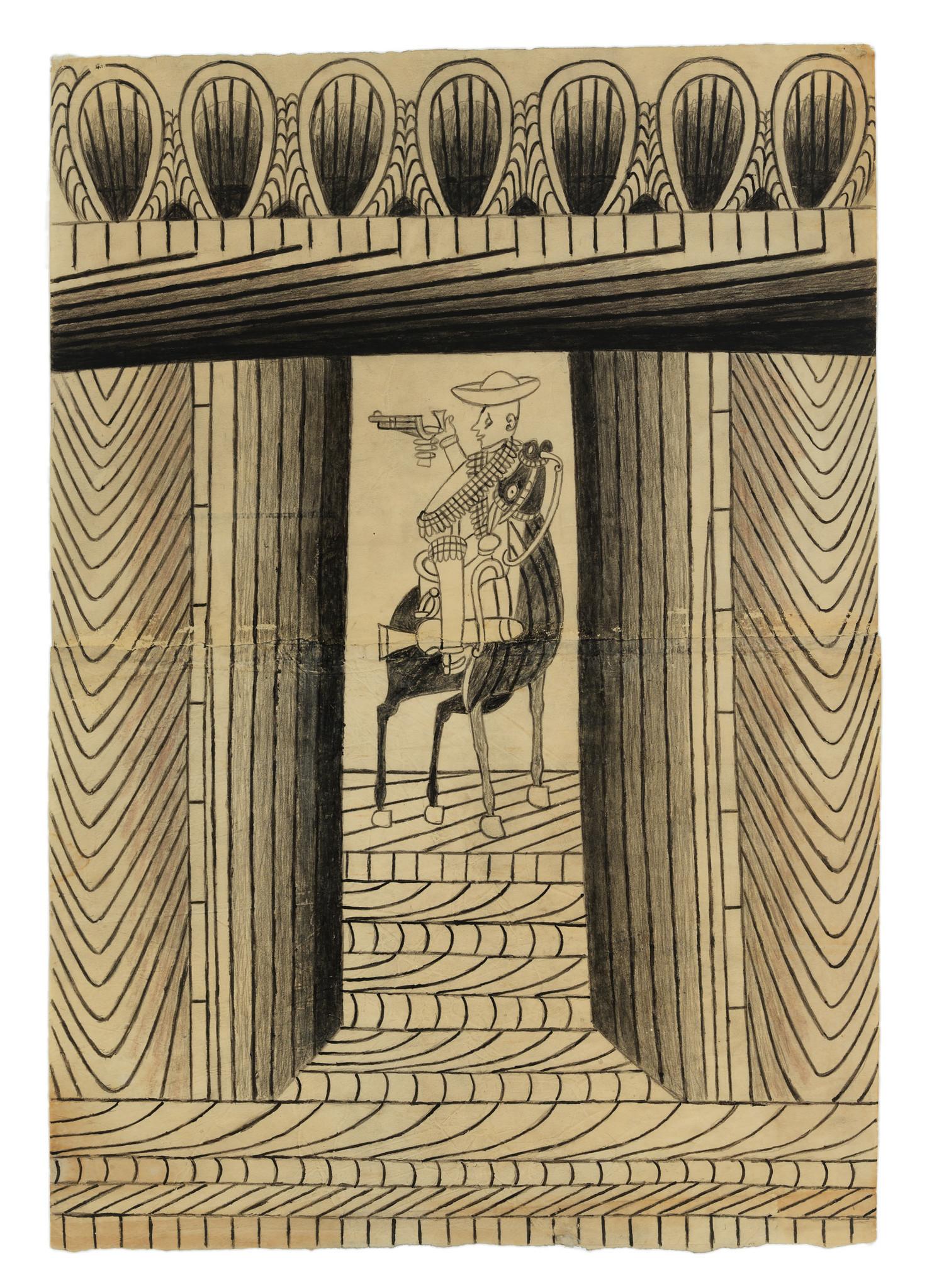 "Martín Ramírez, ""Horse and Rider With Frieze,"" no date; gouache, colored pencil, graphite."