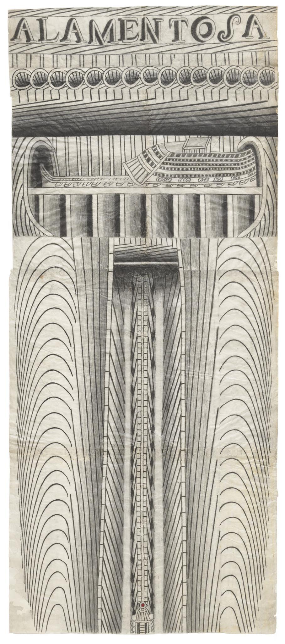 """Martín Ramírez, """"Untitled (Alamentosa),"""" circa 1953; pencil and watercolor on paper."""