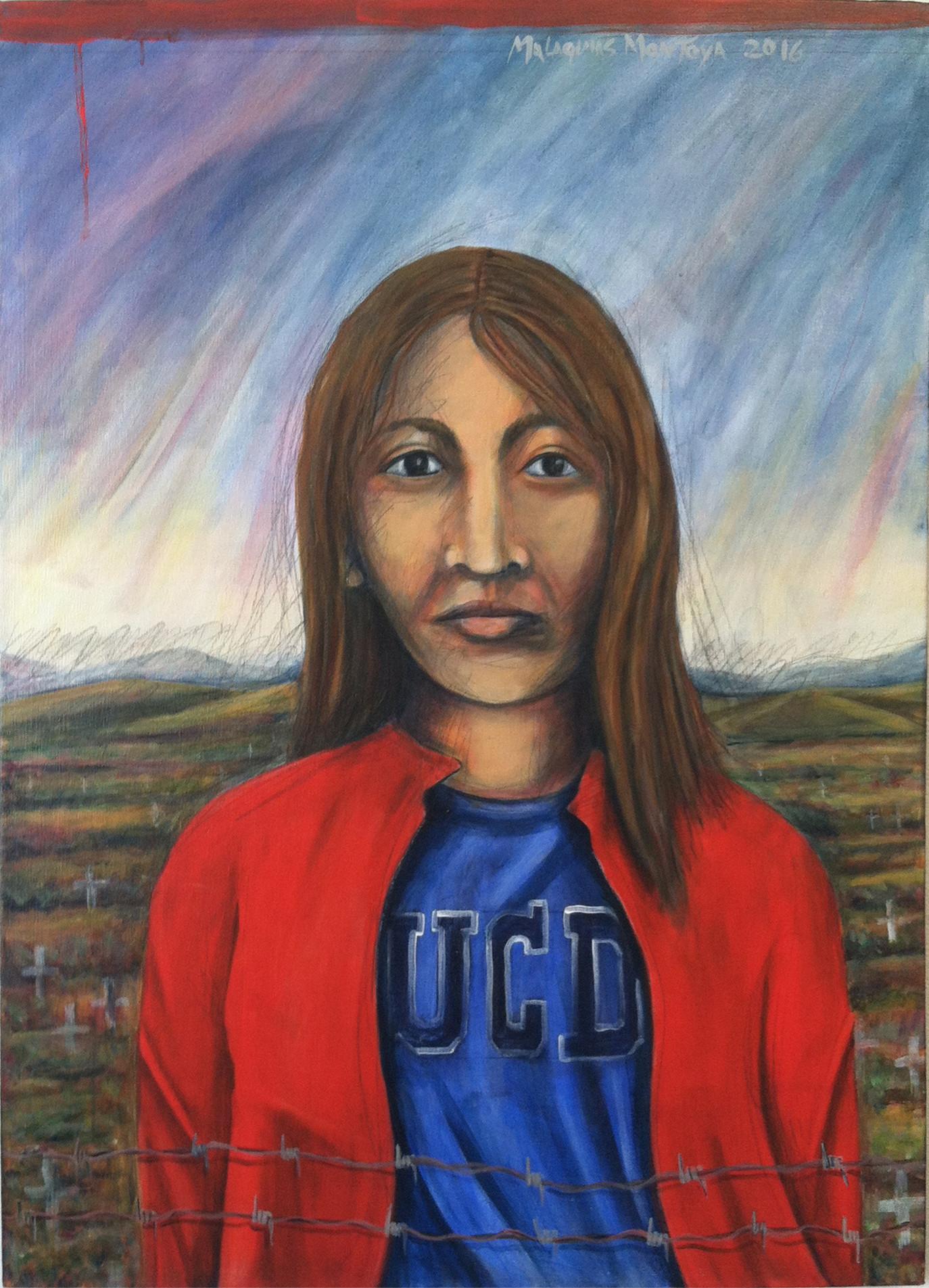 """""""The Dreamer #2,"""" by Malaquías Montoya, at Avenue 50 Studio."""