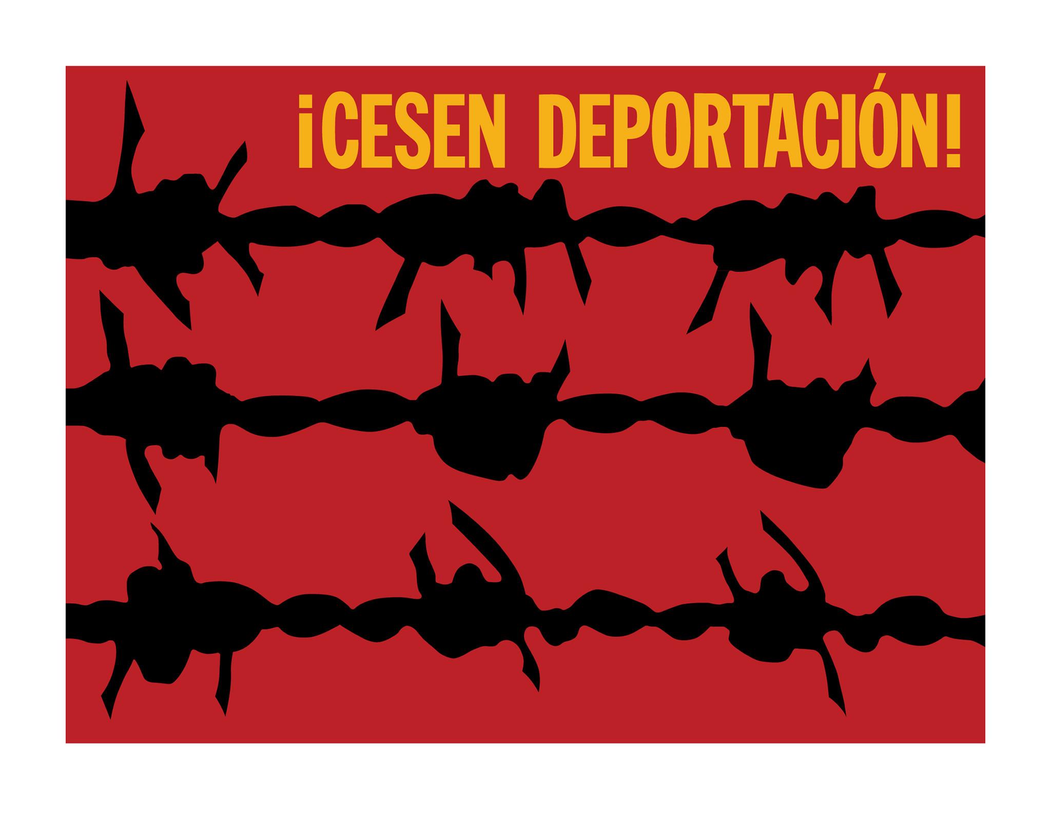 """""""¡Cesen Deportación,"""" a screenprint from 2011, based on a design from 1973, by Rupert García, at the Craft & Folk Art Museum."""