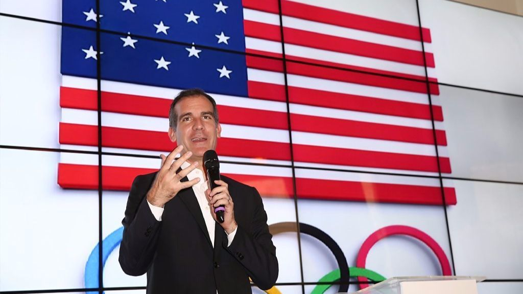 Mayor Eric Garcetti makes a pitch for Los Angeles hosting the Olympics at an event in August 2016 in Brazil, site of the Rio Summer Games. The candidacy of Donald Trump was one issue the mayor had to address.