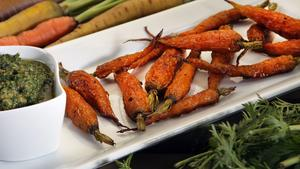 Roasted carrots with carrot top pesto