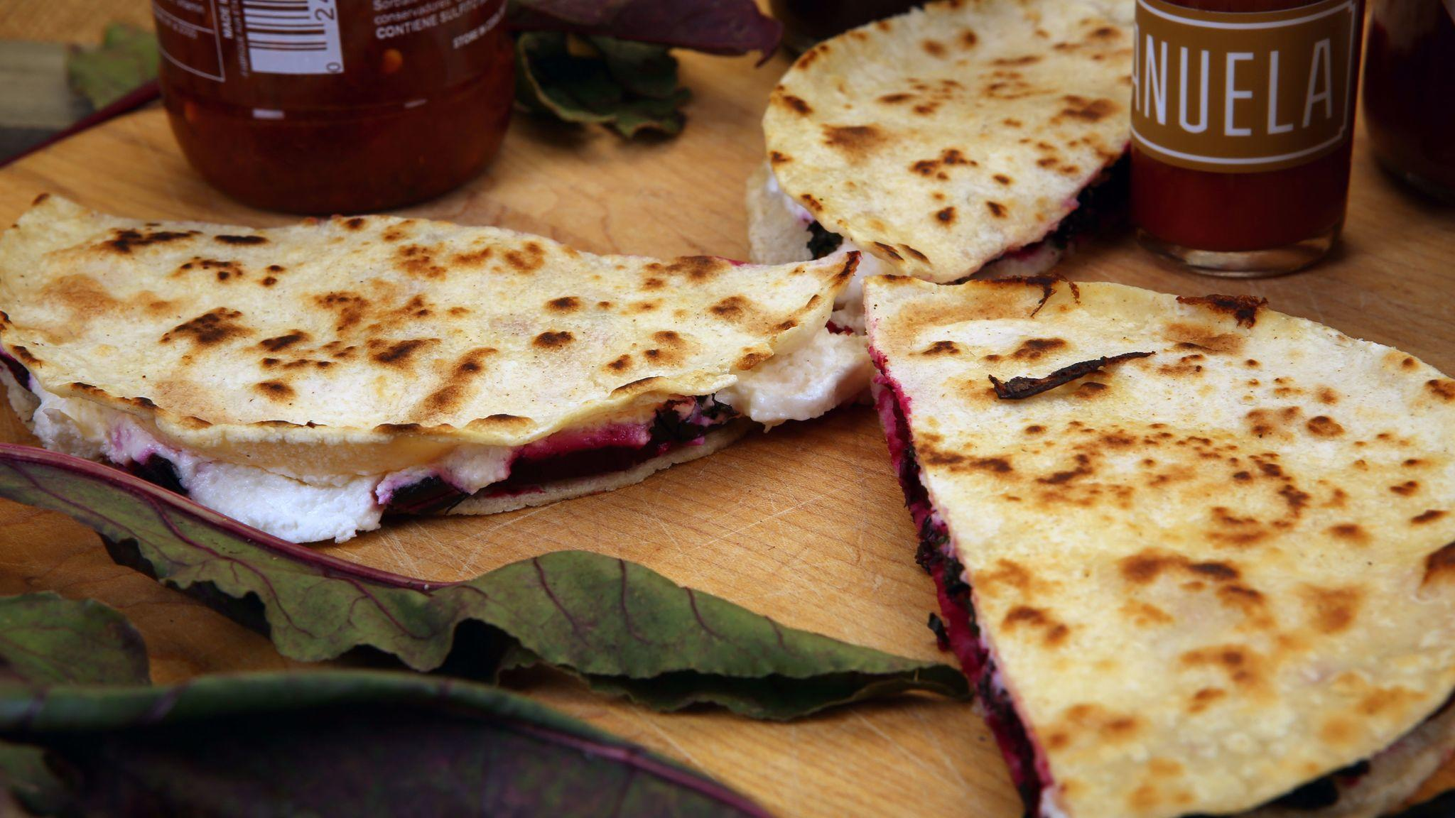 Beet green, roasted beets and goat cheese quesadillas