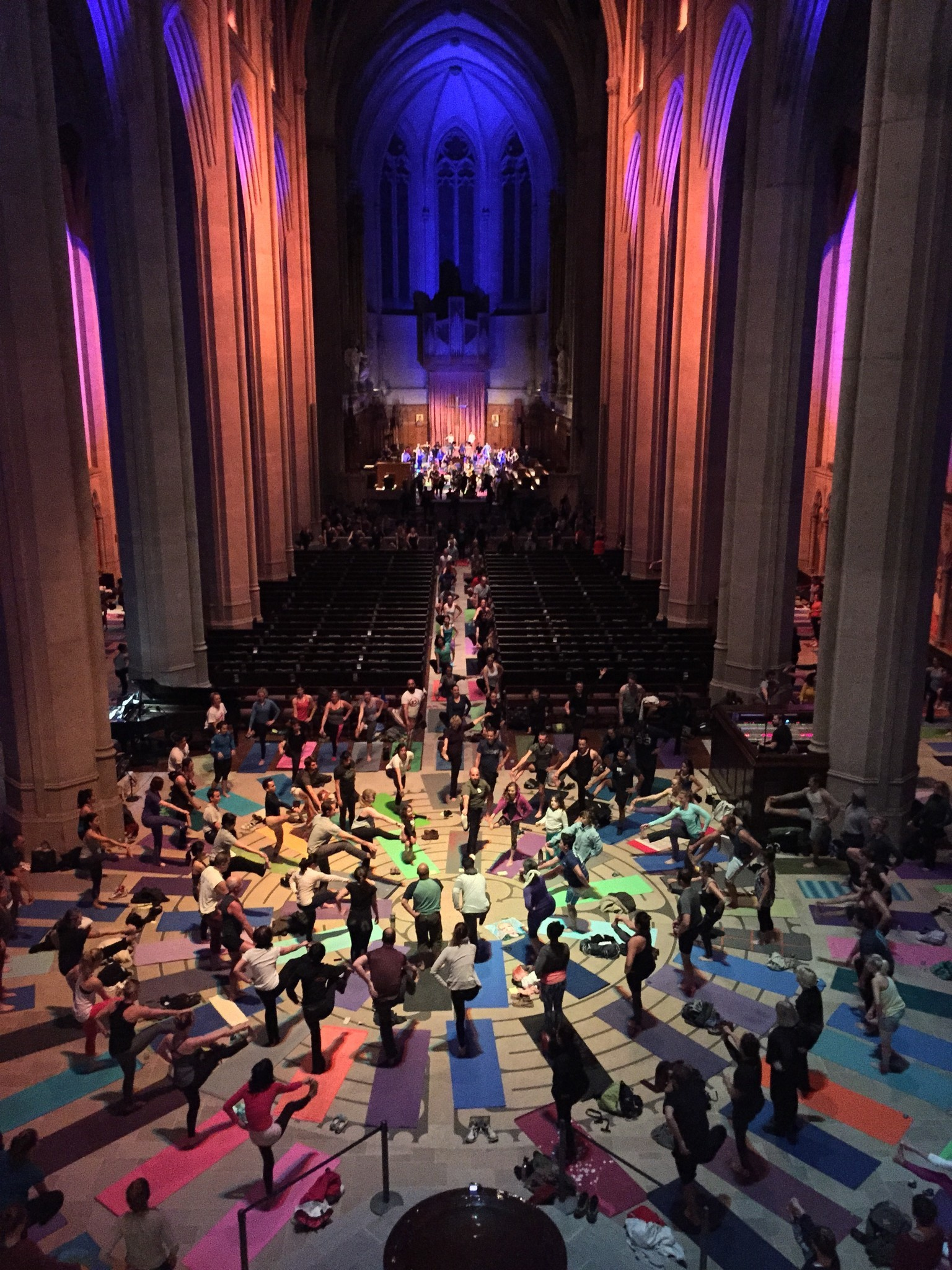 Bring your yoga mat for a session at San Francisco's Grace Cathedral.