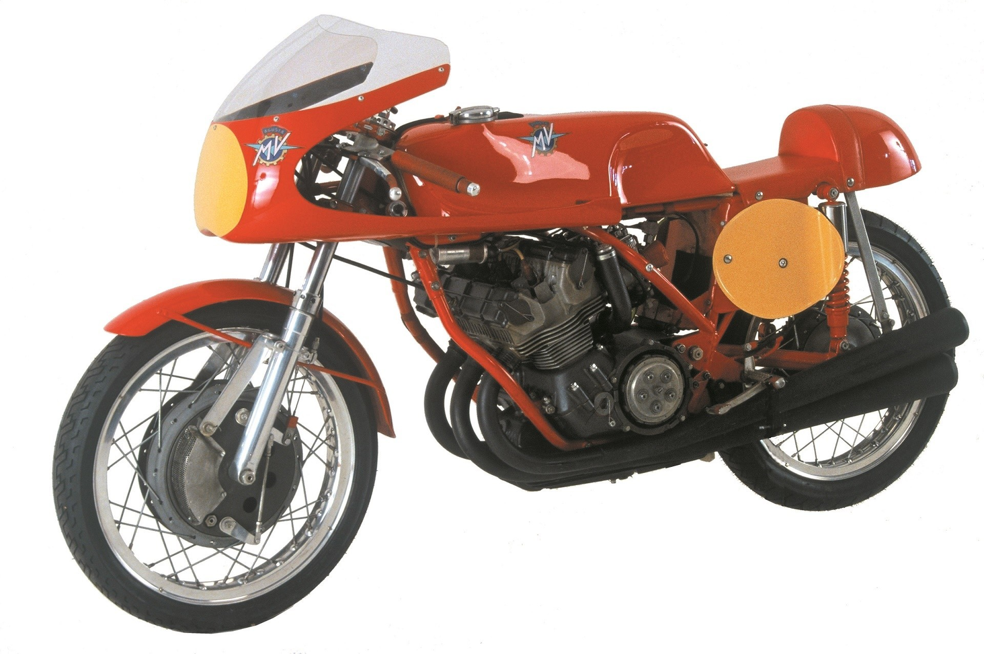 Original prototype of an MV August 3-cylinder cycle is on display at the Solvang Vintage Motorcycle Museum.