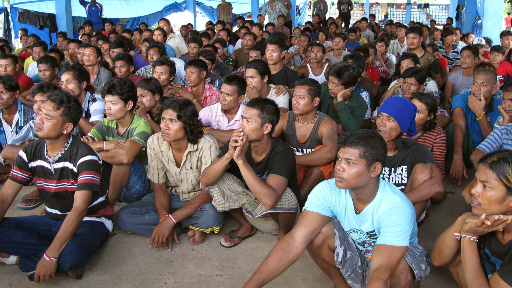 Former fishing slaves who were rescued by the Indonesian government from the remote island of Benjina. Indonesia in 2016.
