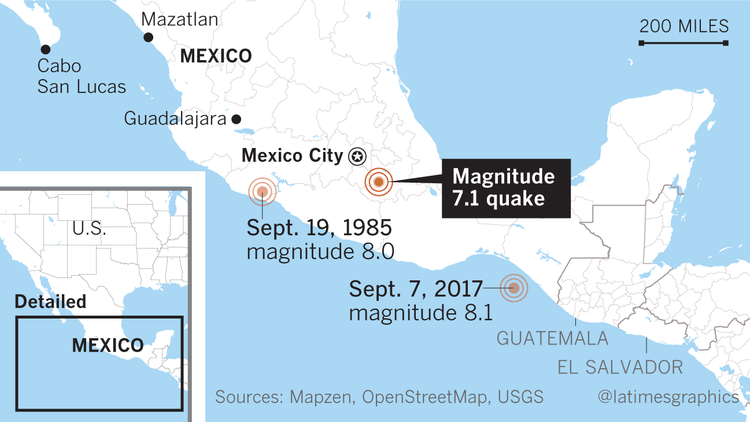 This week's magnitude 7.1 earthquake in Mexico was so destructive in the capital because it was relatively close to Mexico City — just 80 miles away. The Sept. 7, 2017 magnitude 8.1 earthquake was 450 miles away, and did not cause major damage in the capital.