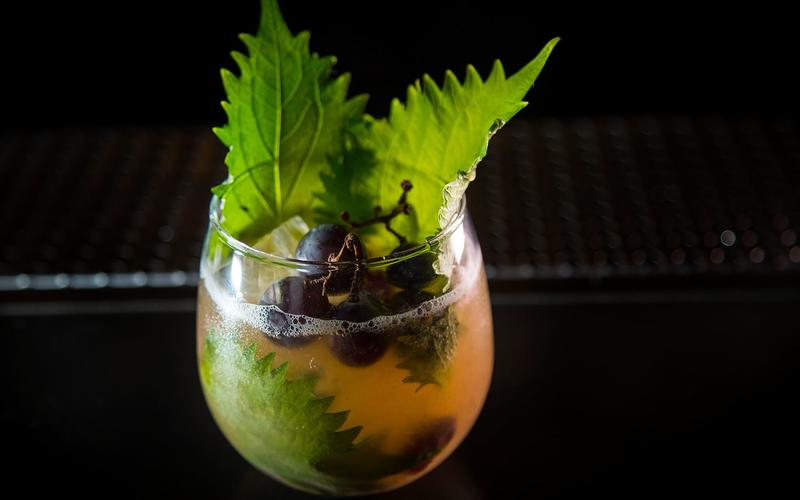 Kyoho grape and shiso cocktail