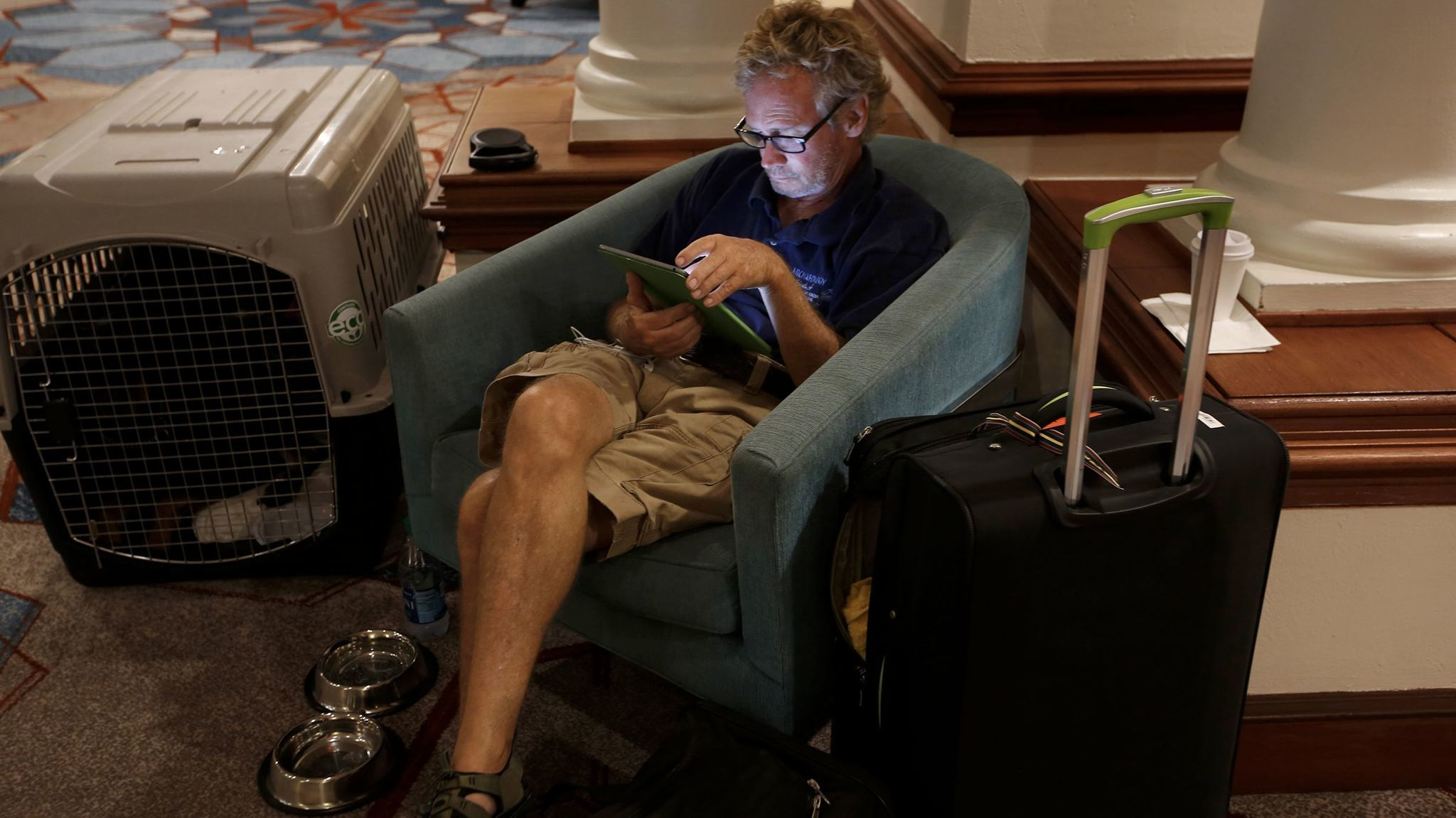 Ken Wild, an archaeologist with the National Park Service, evacuated from St. John during Hurricane Irma and is staying at the Sheraton in San Juan.