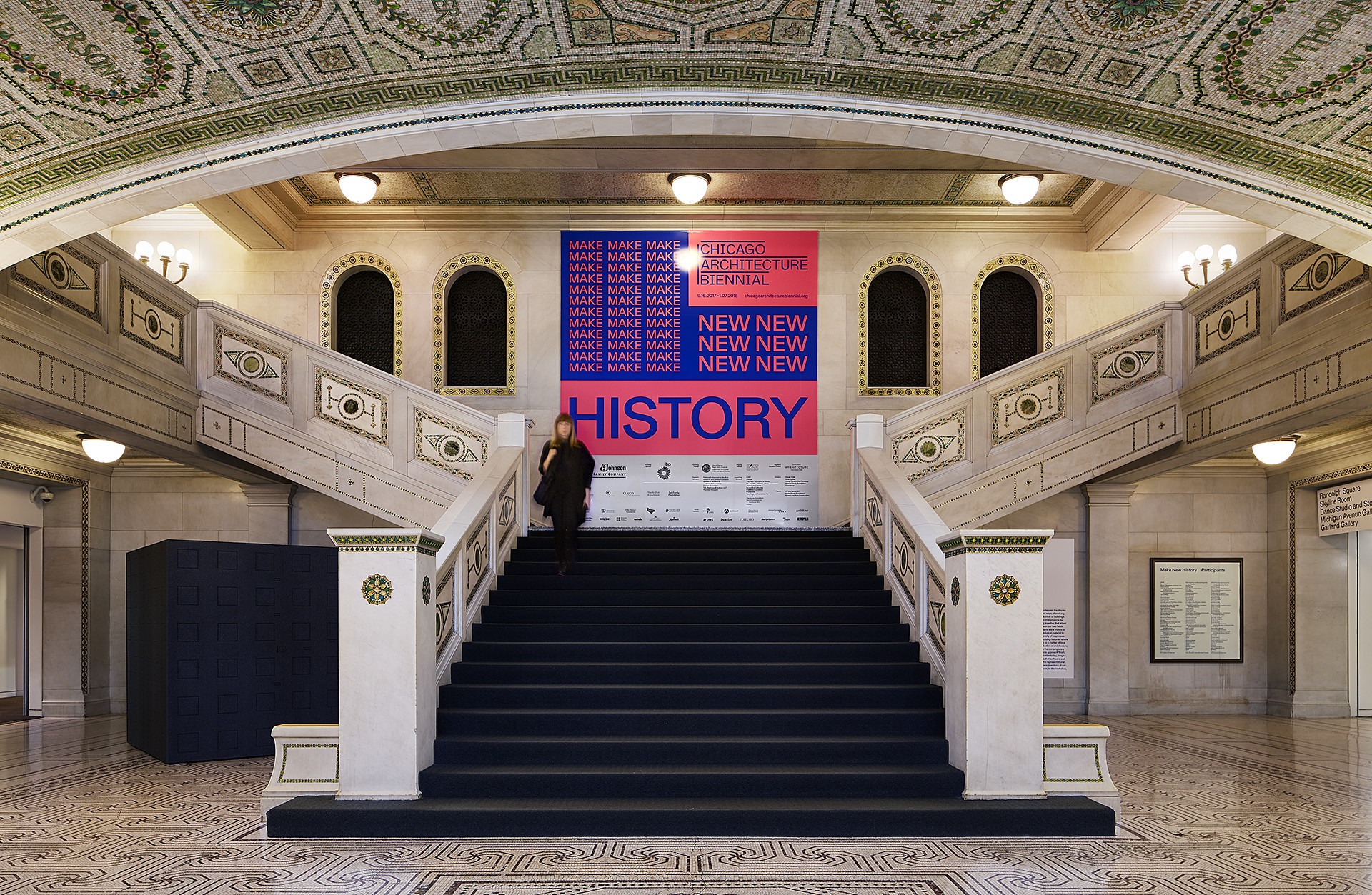 "The interior of the Chicago Cultural Center, home base for the second Chicago Architecture Biennial, ""Make New History."""