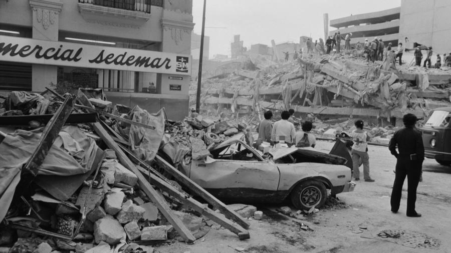 Magnitude 8: The aftermath of the 1985 earthquake in Mexico City. The capital was hit hard, largely due to the soft soil conditions under the city, despite it being 250 miles from the epicenter of the earthquake in Michoacán.