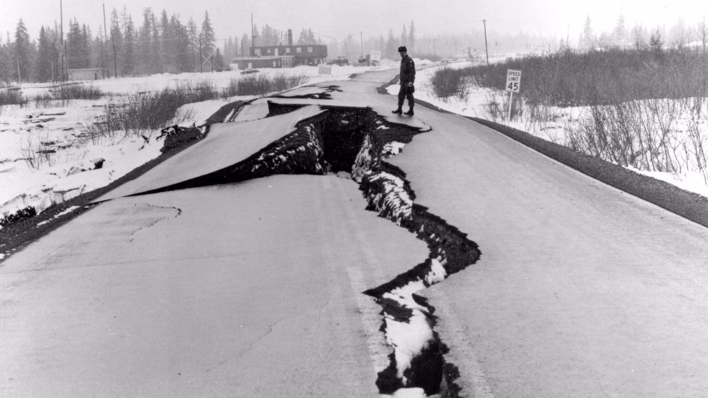 Magnitude 9.2: In this March 27, 1964, photo released by the U.S. Geological Survey, Seward Highway near Anchorage is badly damaged after the massive quake off Alaska.