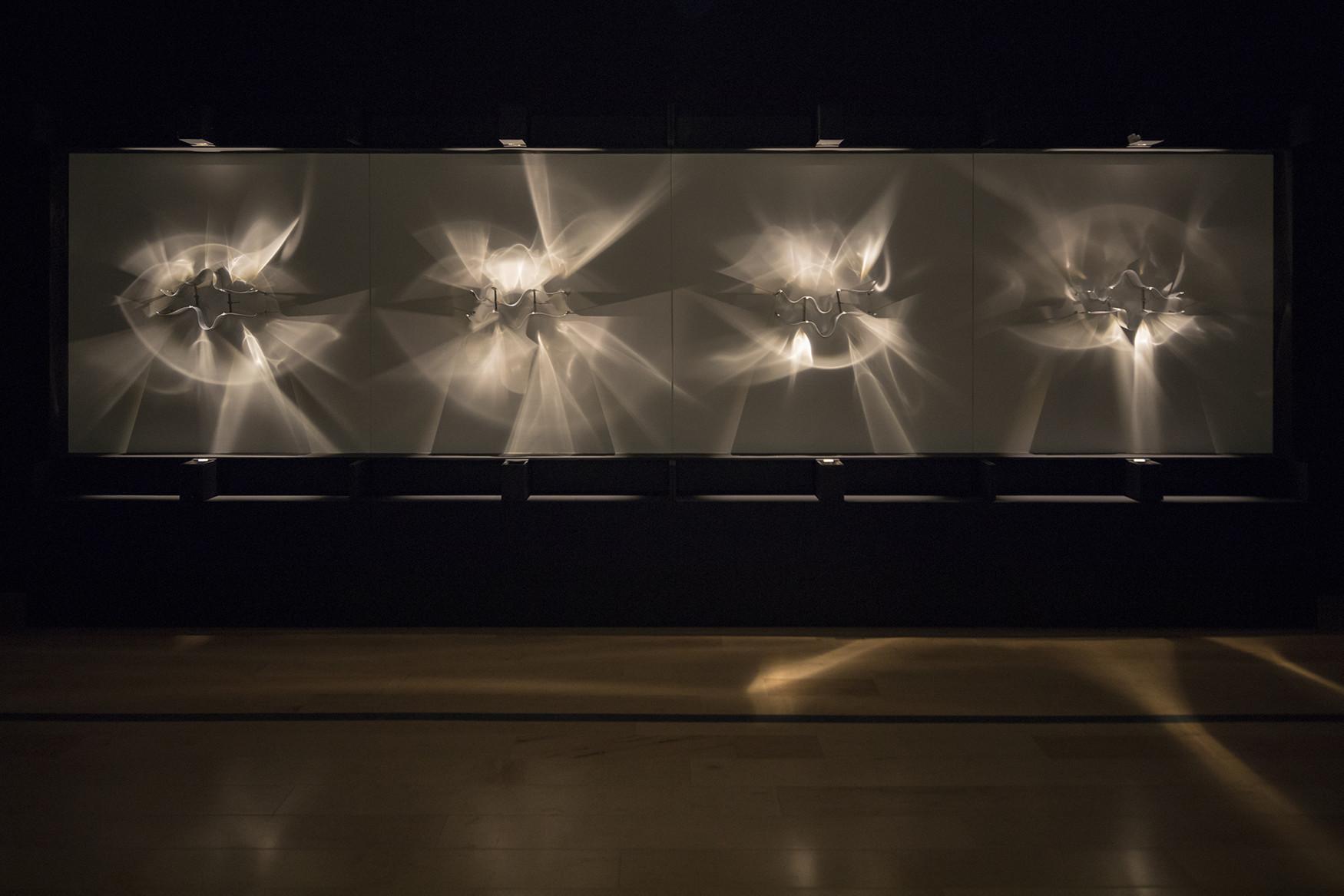 """Julio Le Parc, """"Continuel-lumiere avec formes en contorsion,"""" 1966/2012; wood, plastic, light, motor"""
