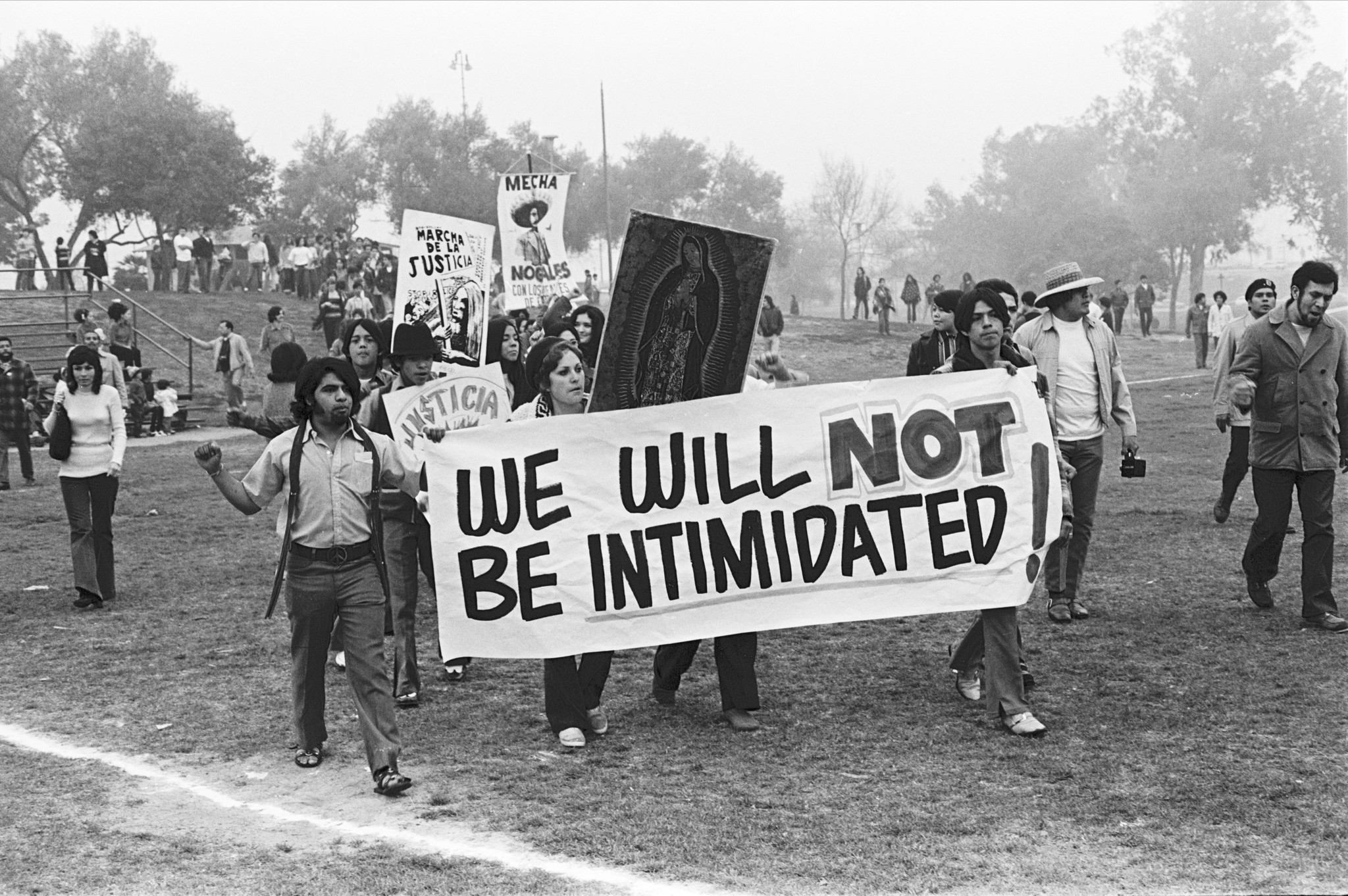 "A photograph by Luis Garza shows students leading a protest march in Belvedere Park in January of 1971, from the exhibition ""La Raza"" at the Autry."