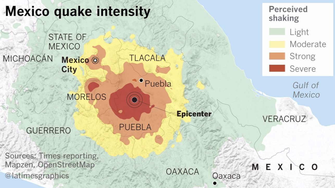 Intensity of shaking from the Sept. 19, 2017 earthquake.