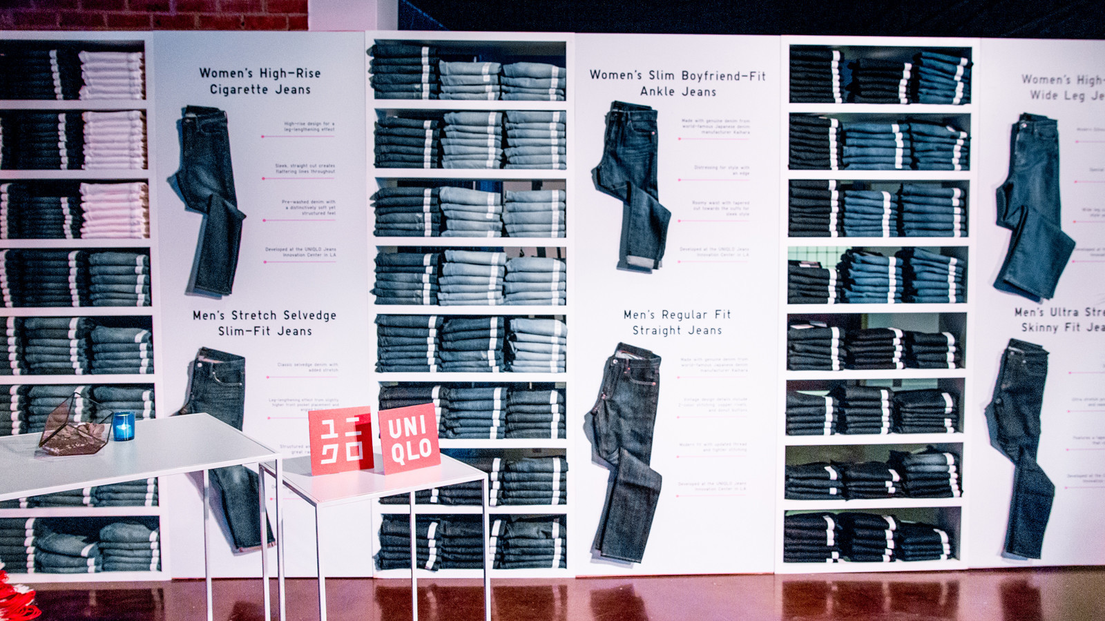 A look at the denim wall at Uniqlo's #DedicatedToDenim event in Hollywood on Sept. 19, 2017.