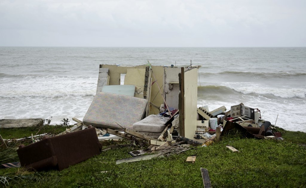 A completely ruined house is seen in El Negro community a day after the impact of Hurricane Maria, in Puerto Rico, Thursday, September 21, 2017.