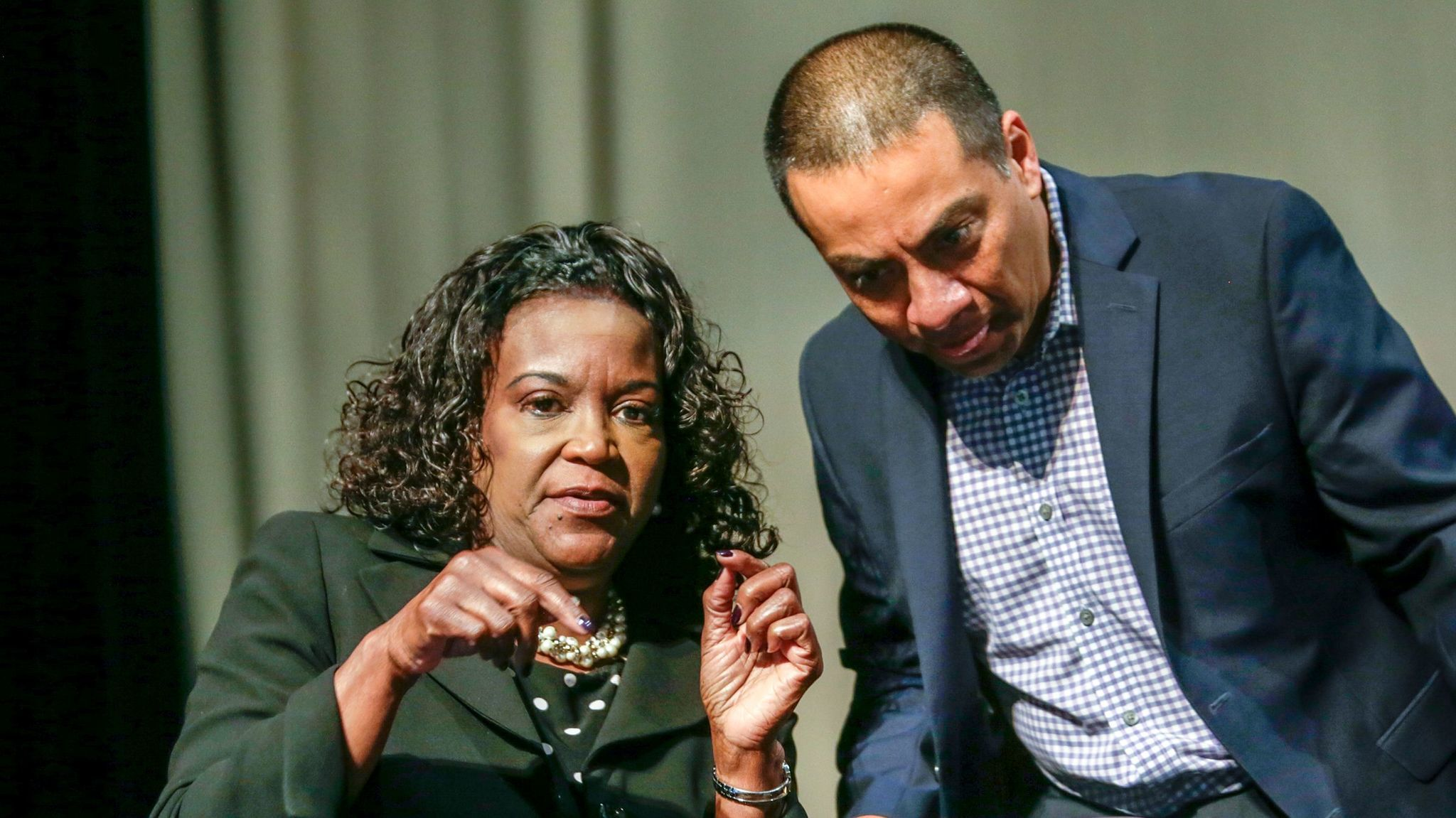 Ref Rodriguez confers with L.A. schools Supt. Michelle King at a forum for school leaders in 2016.