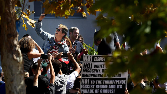 Milo Yiannopoulos takes a selfie with his supporters on Sunday in Sproul Plaza on the UC Berkeley campus after his speech.