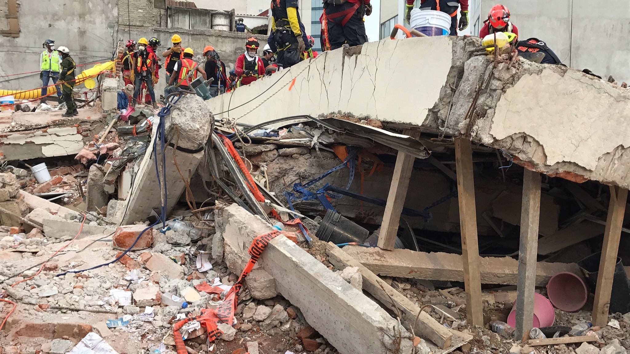 A shattered concrete column or beam from roof of the office building at Avenida Alvaro Obregon 286, in the Condesa neighborhood of Mexico City.