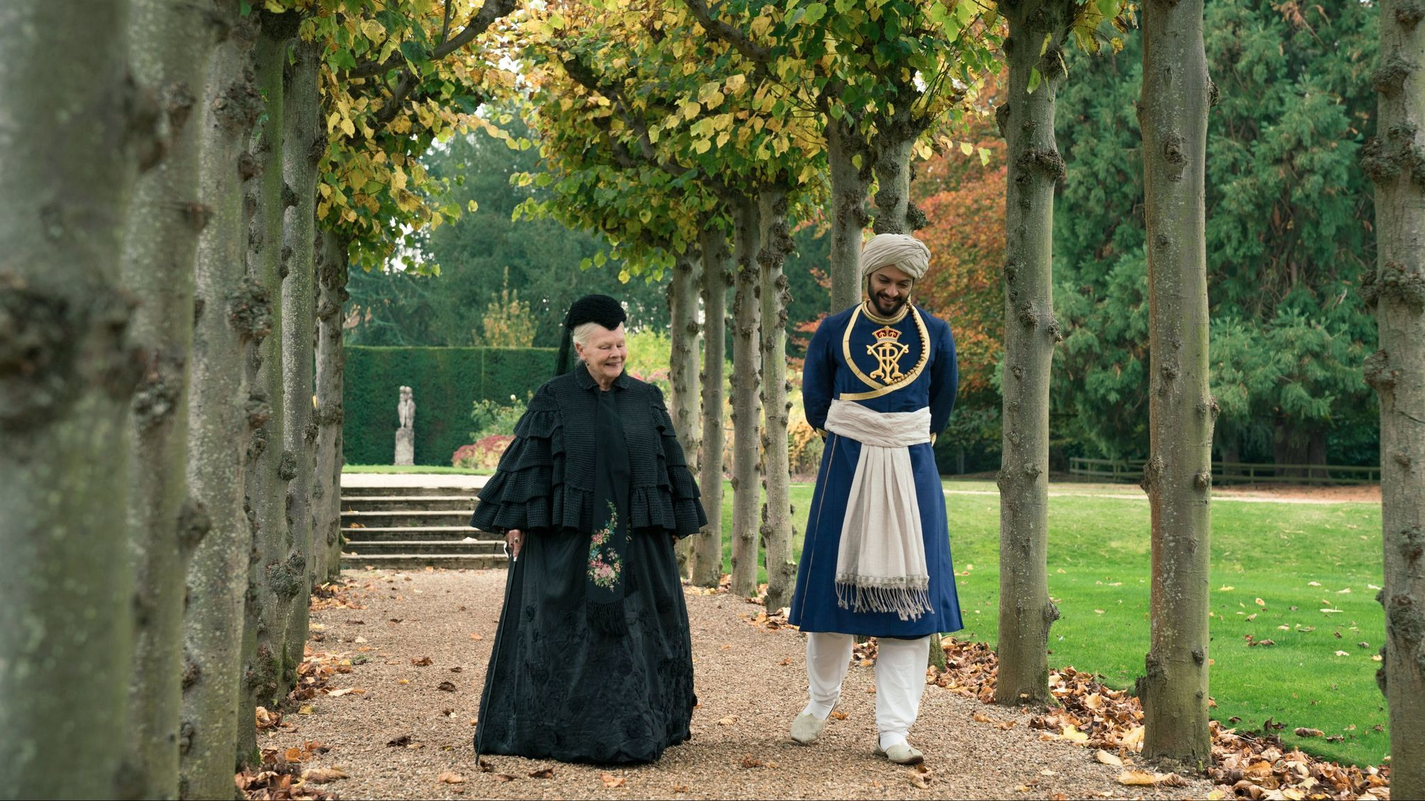 Judi Dench as Queen Victoria and Ali Fazal as Abdul Karim, the servant she befriends, in director Stephen Frears'