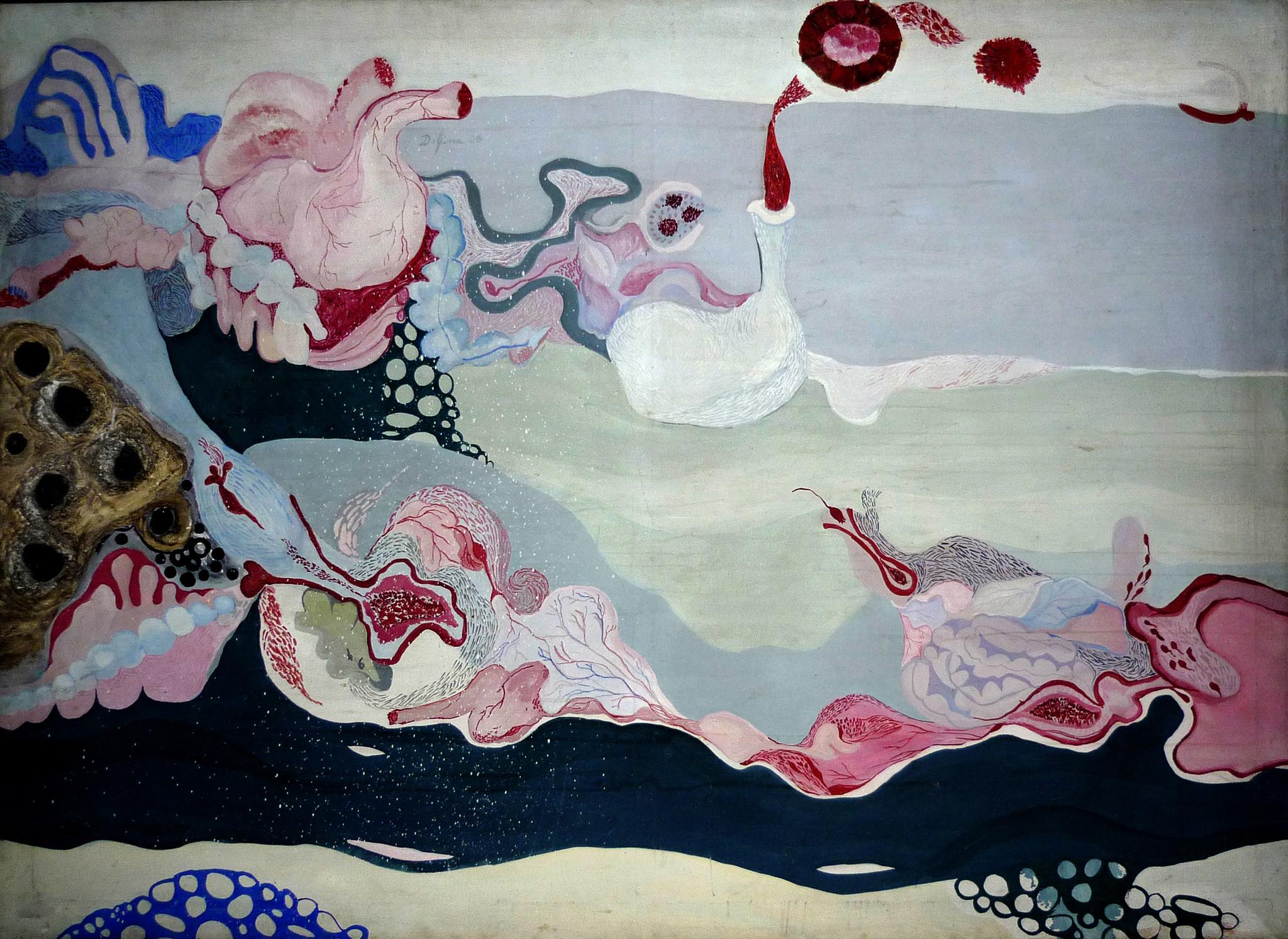 "Delfina Bernal, ""Seascape in Rope,"" 1966, acrylic on canvas"