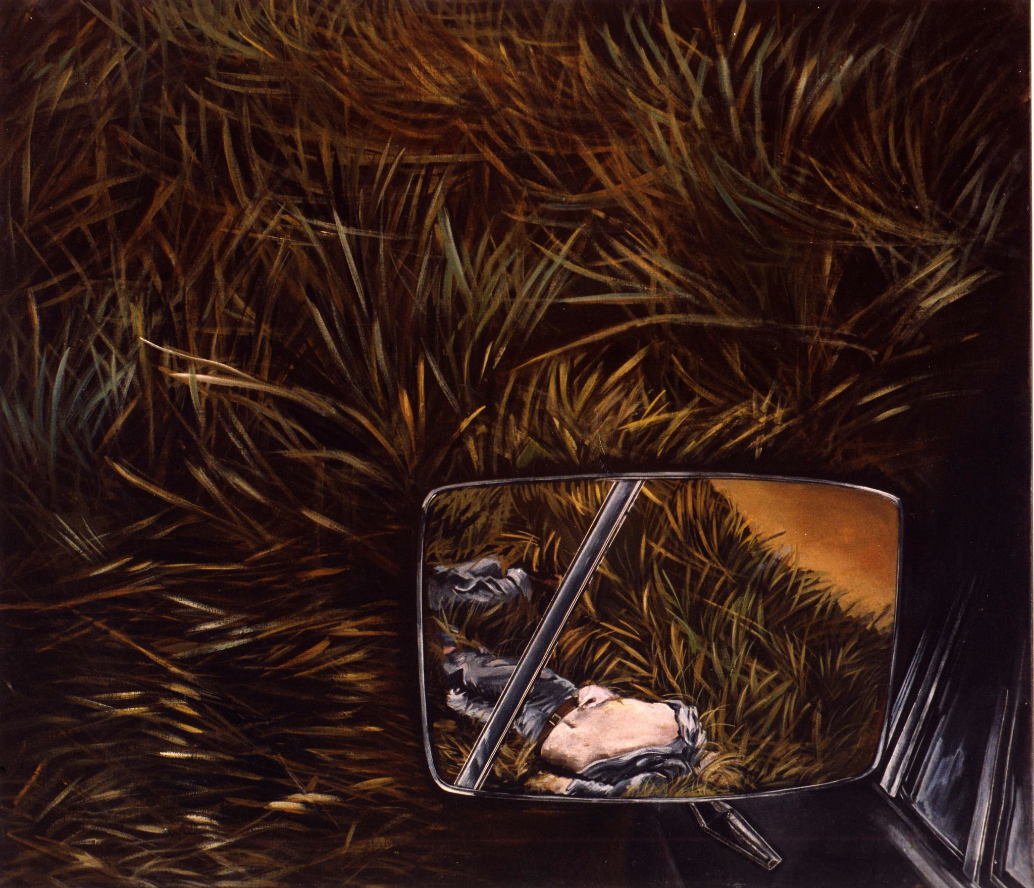 """Diana Dowek, """"Landscape with side-view mirror II,"""" 1974, acrylic on canvas."""
