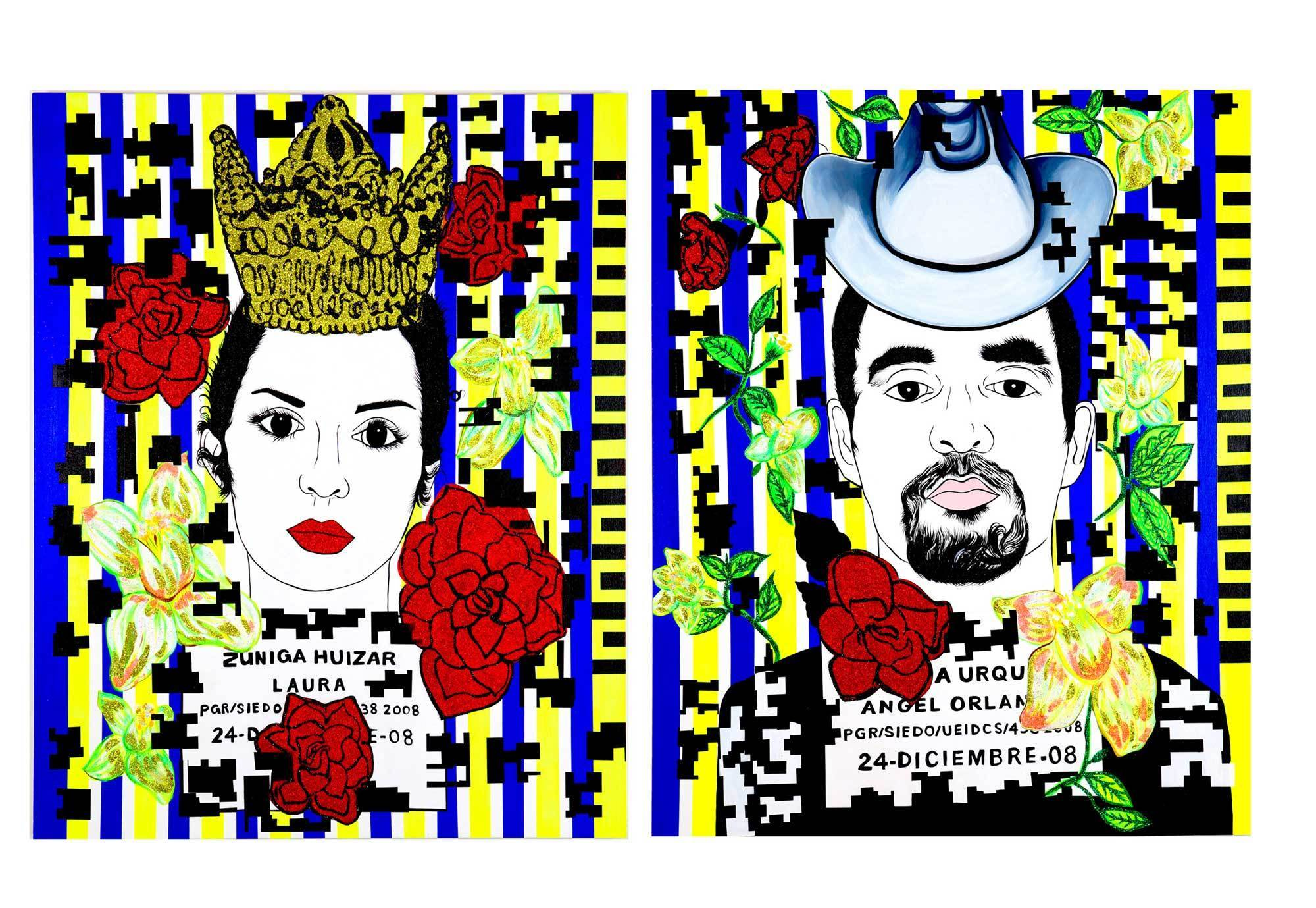 """Beauty Queen and Druglord (Laura Zuñiga and Angel Garcia Urquiza),"" 2009, by Carolyn Castaño, from her survey at Laband."
